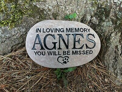 Pet Memorial Stone Cat or Dog personalized engraved River Stone