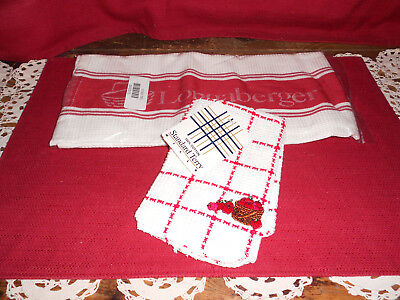 Longaberger 1 DISH TOWEL & 1 DISH CLOTH!  NEW!  HOMESTEAD!  OHIO!  BIN!   L@@K!