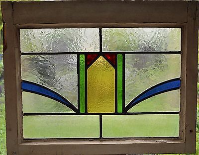 Antique Leaded English Stained Glass Window Wood Frame England Old House 51
