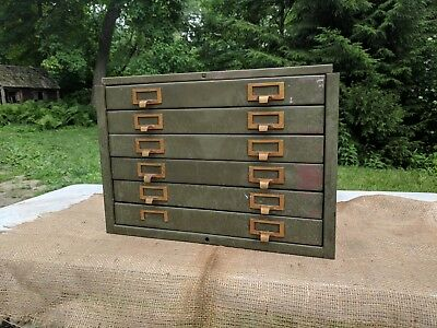Vintage Industrial 6 Drawer Small Steel Flat File  Cabinet