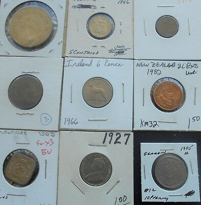 Lot 9 Carded World Coins Prussia Brazil Canada Germany Ect 1 Silver Circ-BU PB4