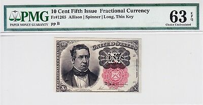 10 Cent Fractional Currency Fr 1265 PMG 63 Ch Unc EPQ Red Seal Long Thin Key