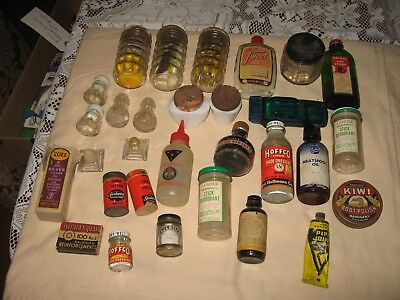 Vintage misc lot of bottles and some tins