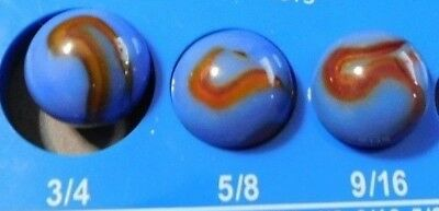 "Lot 3 Antique Vintage Akro Agate Oxblook Blue Corkscrew 5/8"" Marbles"