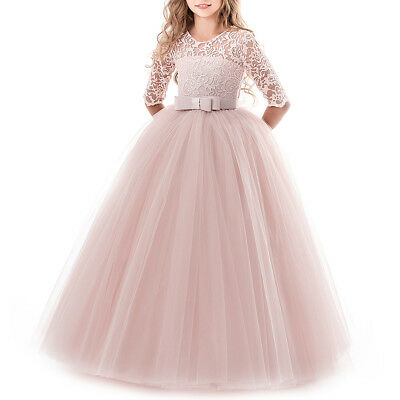Flower Girls Wedding Bridesmaid Princess Dress Pageant Party Lace Gown for Kids