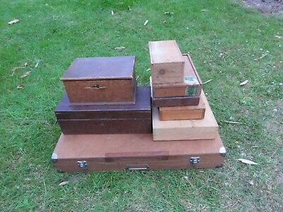 Joblot Vintage Rustic Wooden Boxes Chests Storage Crates Tool