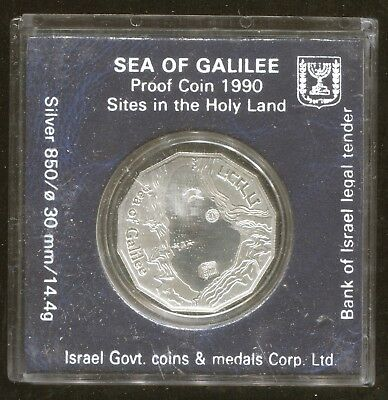 Holy Land Sites -Sea of Galilee- Israel Silver Proof One Shequel 1990- Low Mint