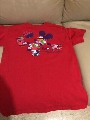 Disney Parks Mickey Mouse Soccer Epcot World Showcase Shirt T-Shirt Junior Sz JL