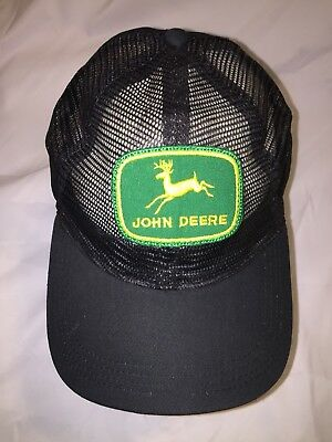f5280b129f7dc0 RARE VINTAGE 80s JOHN DEERE PATCH BLACK ALL MESH SNAPBACK HAT FARMING  TRACTOR