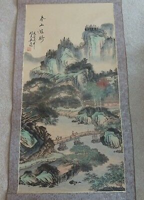 Beautiful Vintage Antique Signed Asian Japanese Landscape Scroll Painting