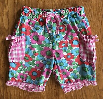 Mini Boden baby girl shorts size 12-18 mos, pink red floral gingham ruffled CUTE