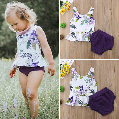 Baby Girl Cotton Floral Sleeveless Tops+Shorts Briefs Summer Outfit 2PCs Clothes