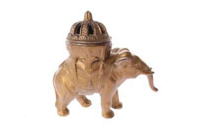 Antique Cast Metal Elephant Incense Burner