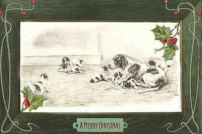 Pointer Dog W Puppies 1935 Nast Santa - LARGE New Blank Christmas Note Cards
