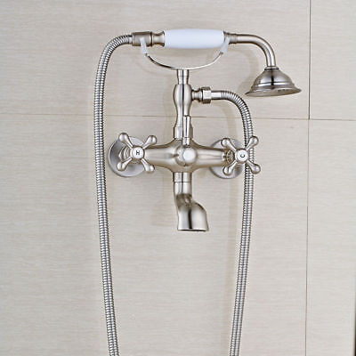 Brushed Nickel Bathtub Faucet with Tub Spout Faucet Ceramic Handheld Shower