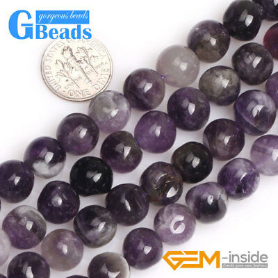 Natural Freeform Round Dream Lace Amethyst Stone Beads for Jewelry Making 15''