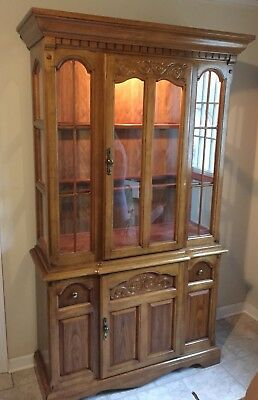 Solid Oak China Cabinet Hutch Buffet   Two Piece