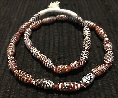 African Trade beads Vintage Venetian glass 24 inch strand ~old red feather beads