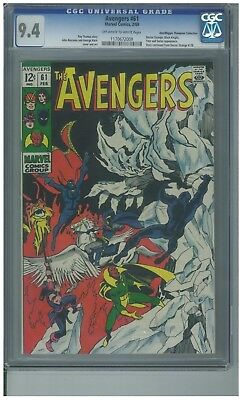 Avengers # 61 - February 1969 - Cgc 9.4 Off White/white Pages - Free Shipping