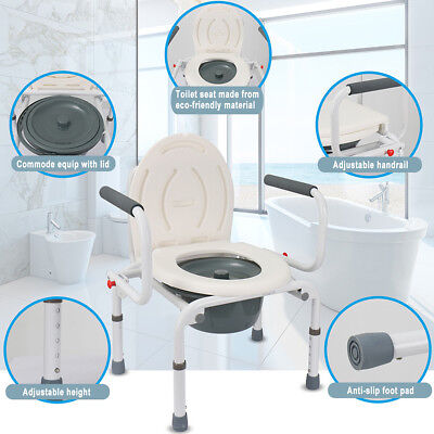 Potty+ 100kg Commode Chair Beside Room Adjustable Shower Toilet Washable Seat AU