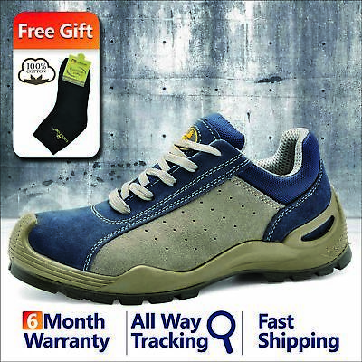 Safetoe Safety Shoes Mens Work Boots Breathable Leather Steel Toe Lace-up L-7295