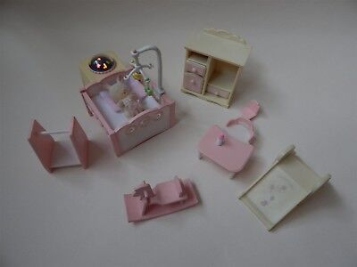 Sylvanian Families pink nursery set, with wind-up, light-up cot - Epoch