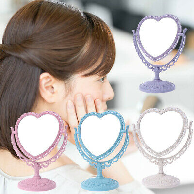 Heart-shaped 2 Sides Makeup Mirror Rotatable Stand Table Compact Mirror Dresser