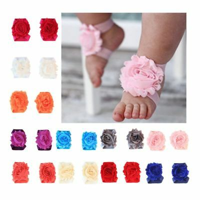 Beautiful Baby Girl Sunflower Headband&Foot Band Barefoot Sandals Shoes 3pcs/set