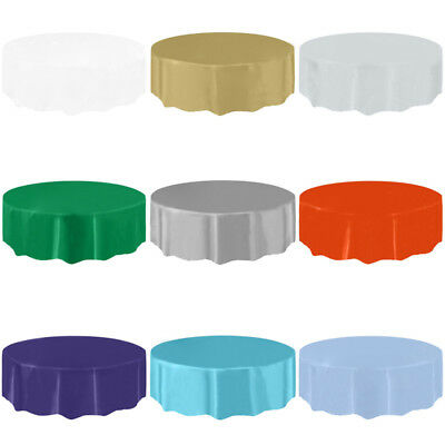 Colourful Round Plastic Tablecovers Table Cloth Cover Cups Napkins Birthday Tool