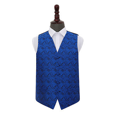DQT Woven Floral Paisley Royal Blue Formal Mens Wedding Waistcoat S-5XL