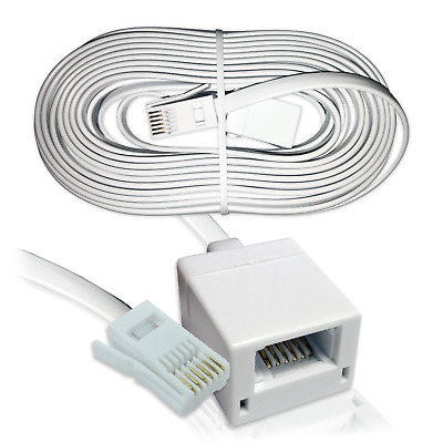 15m BT Phone Extension Cable / 6 Wire Socket Telephone Fax Modem Extension Lead