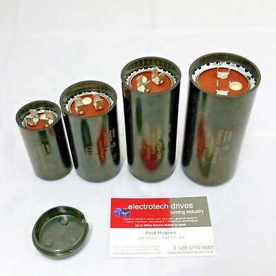 Electric motor start capacitors 50uf to 408uf mfd 250vac with spade terminals