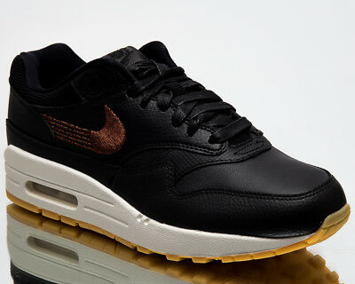 0d2e6324f1 Nike Wmns Air Max 1 Premium Women New Sneakers Black Gum Yellow 454746-020