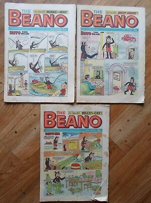 VINTAGE BEANO COMIC , X 3, NOVEMBER 1971, ISSUE No.s 1530, 1531, 1532, USED.