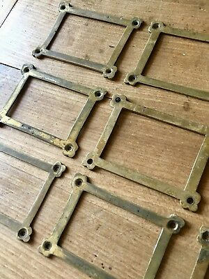 Index Card Holder Drawer Door Antique Solid Cast Brass Reclaimed £4 each
