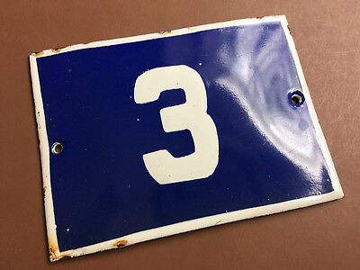 ANTIQUE VINTAGE EUROPEAN ENAMEL SIGN HOUSE NUMBER 3 DOOR GATE SIGN 1950's