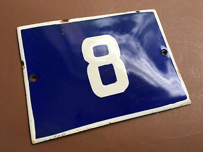ANTIQUE VINTAGE EUROPEAN ENAMEL SIGN HOUSE NUMBER 8 DOOR GATE SIGN 1950's