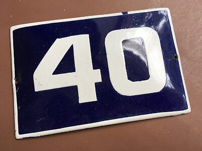 ANTIQUE VINTAGE EUROPEAN ENAMEL SIGN HOUSE NUMBER 40 DOOR GATE SIGN 1950's