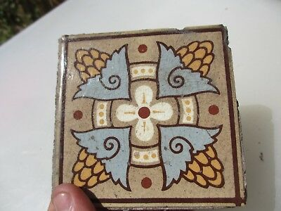 "Victorian Ceramic Floor Tile Architectural Antique 1800's Old Pugin ""Maw & Co"""