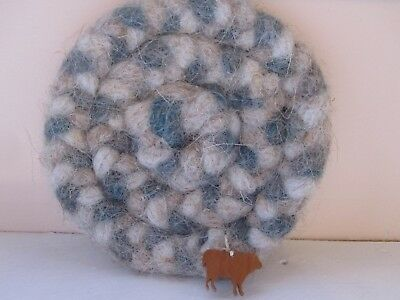 """Rag-rug Coaster for Drinks Made of Wool With Cute Little """"Sheep"""" Attached"""