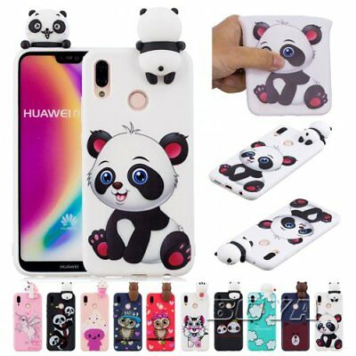 For Huawei Unicorn Phone case OWL Cat Soft TPU 3D Cute animal silicone Cover Gel
