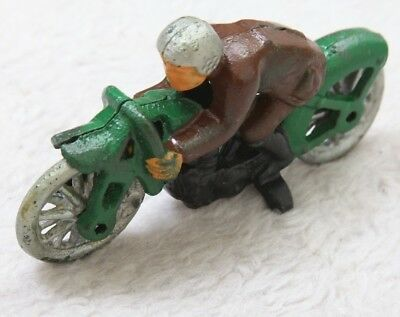 Vintage Cast Iron Motorcycle Toy Antique Green Black Gray Brown Racing Hubley