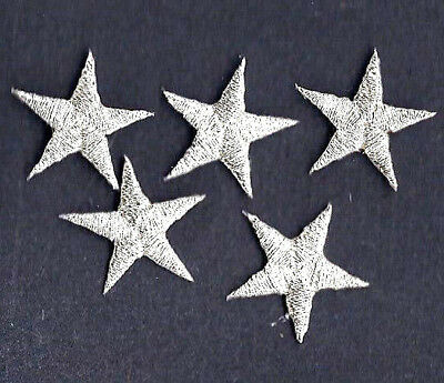 """STARS - Silver Metallic 5/8"""" Star(5 Pc)-Iron On Embroidered Applique Patch"""