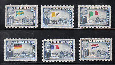 Liberia # C116 MNH 1958 Flag Issue INCORRECT FLAGS X 6 COMPLETE