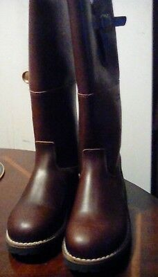 Over the calf winter shearling lined leather boots for men