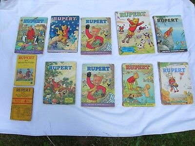 Job Lot Vintage Rupert Annuals And Books 1957, 69, 73, 75, 76, 77, 79 and 82