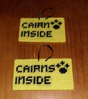 Brand New Handmade Needlepoint Pet Emergency Sign CAIRN TERRIER CAIRNS 4 Charity
