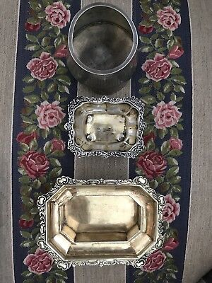 Three Antique Russian Silver Gilt Open Saltcellers Dated Hallmarked