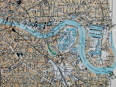 East London West India Docks Victoria Park Thames River c.1880 old map city plan