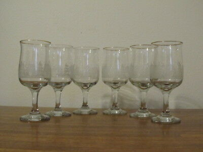 Vintage Libbey Arby's Etched White Winter Stemmed  Glasses Gold Rims Set of 6 C
